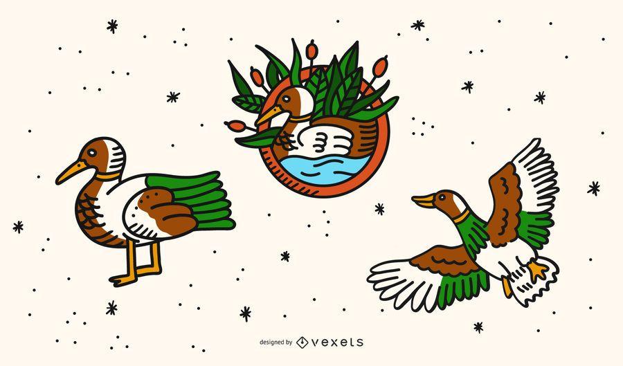 Conjunto de desenhos animados de tatuagem de pato vintage