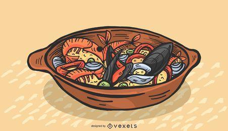 Ilustración de paella hispana de color