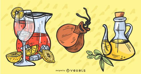 Conjunto de ilustração de elementos latino-americanos