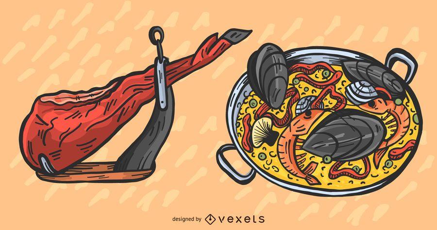 Conjunto de ilustración de comida española tradicional