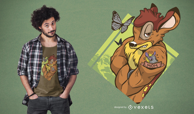 Diseño de camiseta de bambi resistente