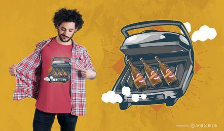 Projeto do t-shirt do BBQ da cerveja