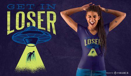 Diseño de camiseta alienígena divertida.