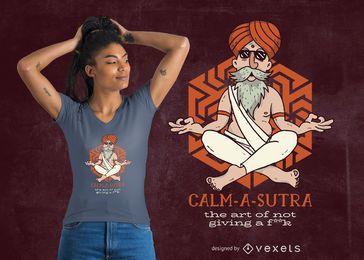 Diseño de camiseta Calm-A-Sutra.