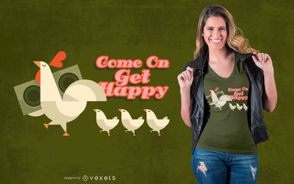 Diseño de camiseta de familia de pollo.