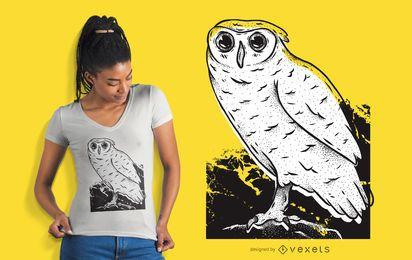 Gezeichnetes T-Shirt Design der Eule Hand