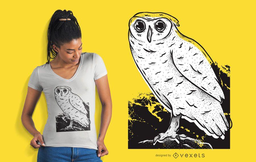 Design de t-shirt desenhada mão de coruja