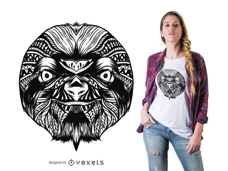 Diseño de camiseta mandala perezoso