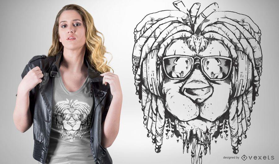 Diseño de camiseta de león rasta.