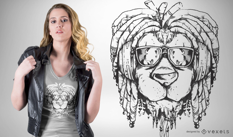 Design de camiseta com leão rasta