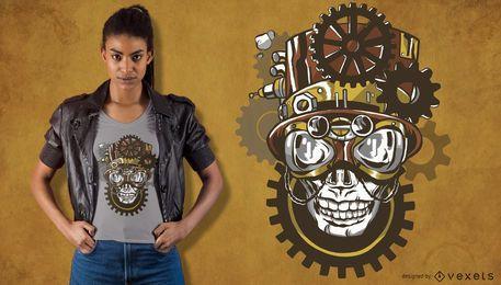Projeto do t-shirt do crânio de Steampunk