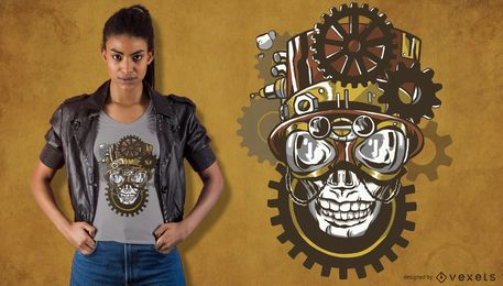 Steampunk skull t-shirt design