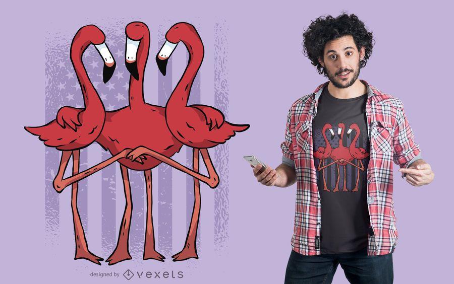 Diseño de camiseta de flamencos americanos.