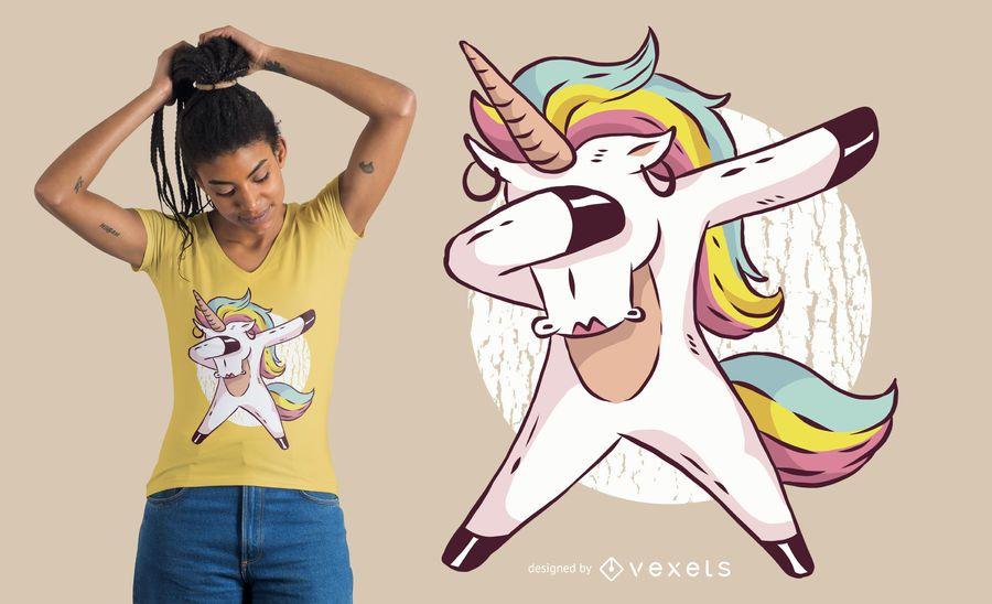 Diseño de camiseta dabbing chica unicornio