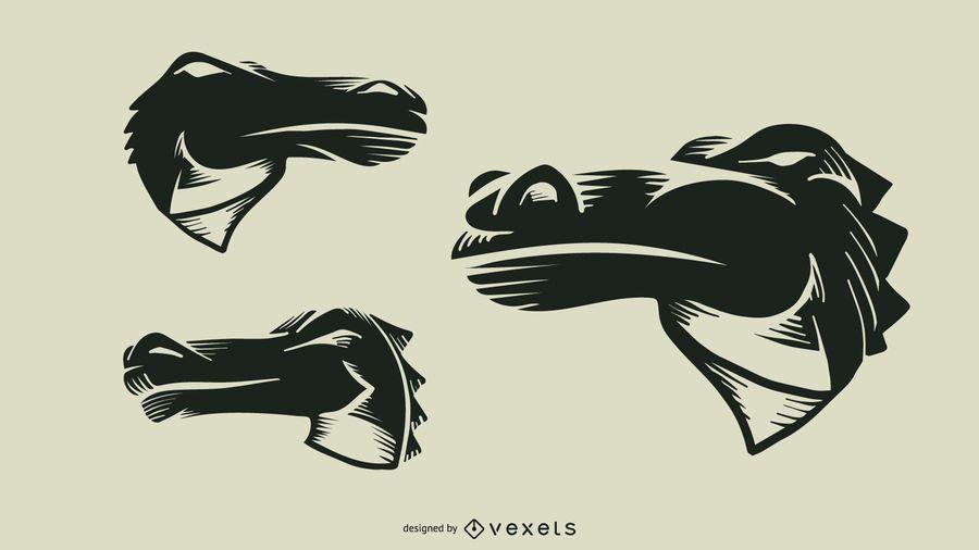Desenho de vetor de tatuagem de crocodilo