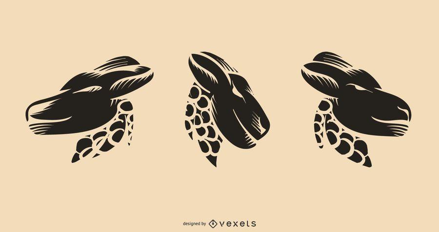 Desenho de vetor de tatuagem de veado