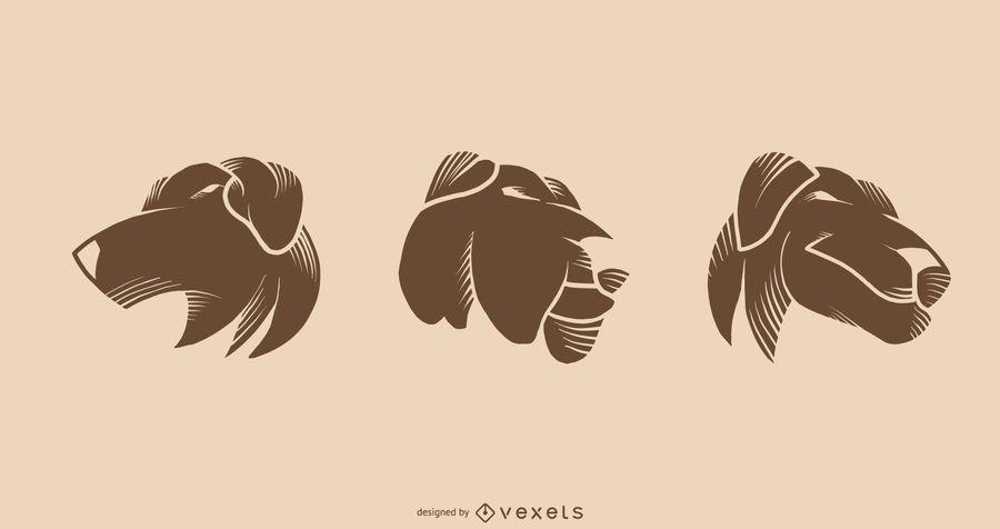 Diseño del vector del tatuaje del perro