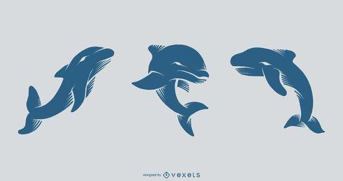 Conjunto de tatuagem de golfinho