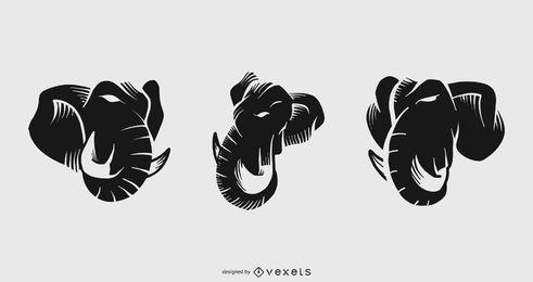 Conjunto de tatuaje de elefante