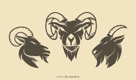 Conjunto de tatuaje de cabra