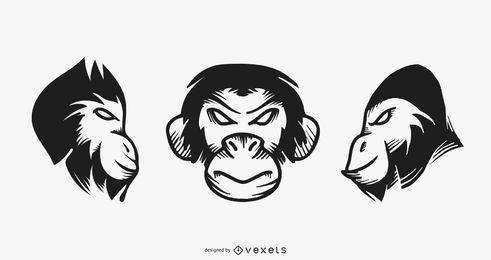 Conjunto de tatuaje de mono