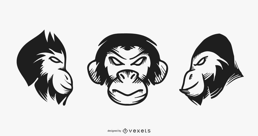 Conjunto de tatuagem de macaco
