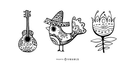 Hispanic heritage month vector set
