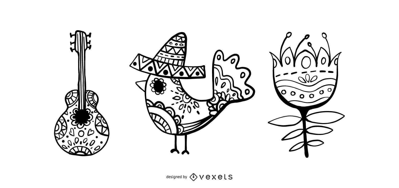 Conjunto de vectores del mes de la herencia hispana