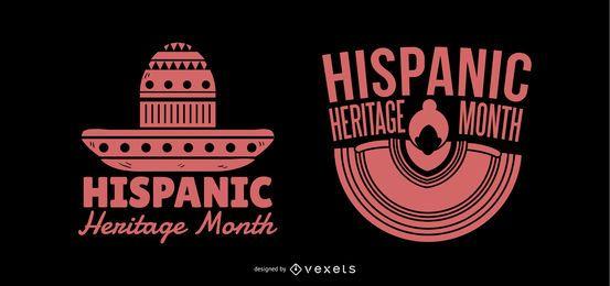 Silhueta de rotulação do mês herança hispânica