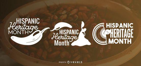 Letras de silhueta de herança hispânica mês