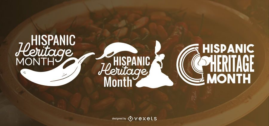 Hispanic heritage month silhouette lettering
