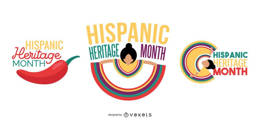 Hispanic heritage month lettering collection
