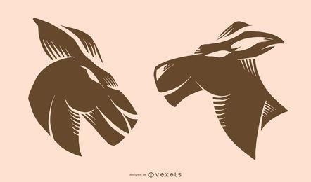 Design de tatuagem de canguru plana