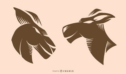 Flaches Känguru-Tätowierungs-Design