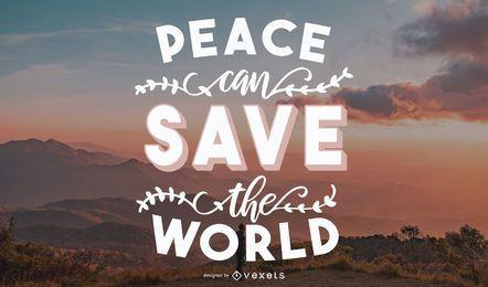 Lettering das citações da paz