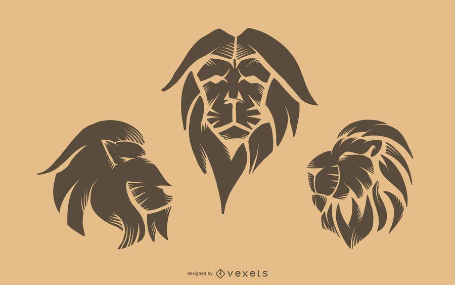 Conjunto de tatuagem de leão