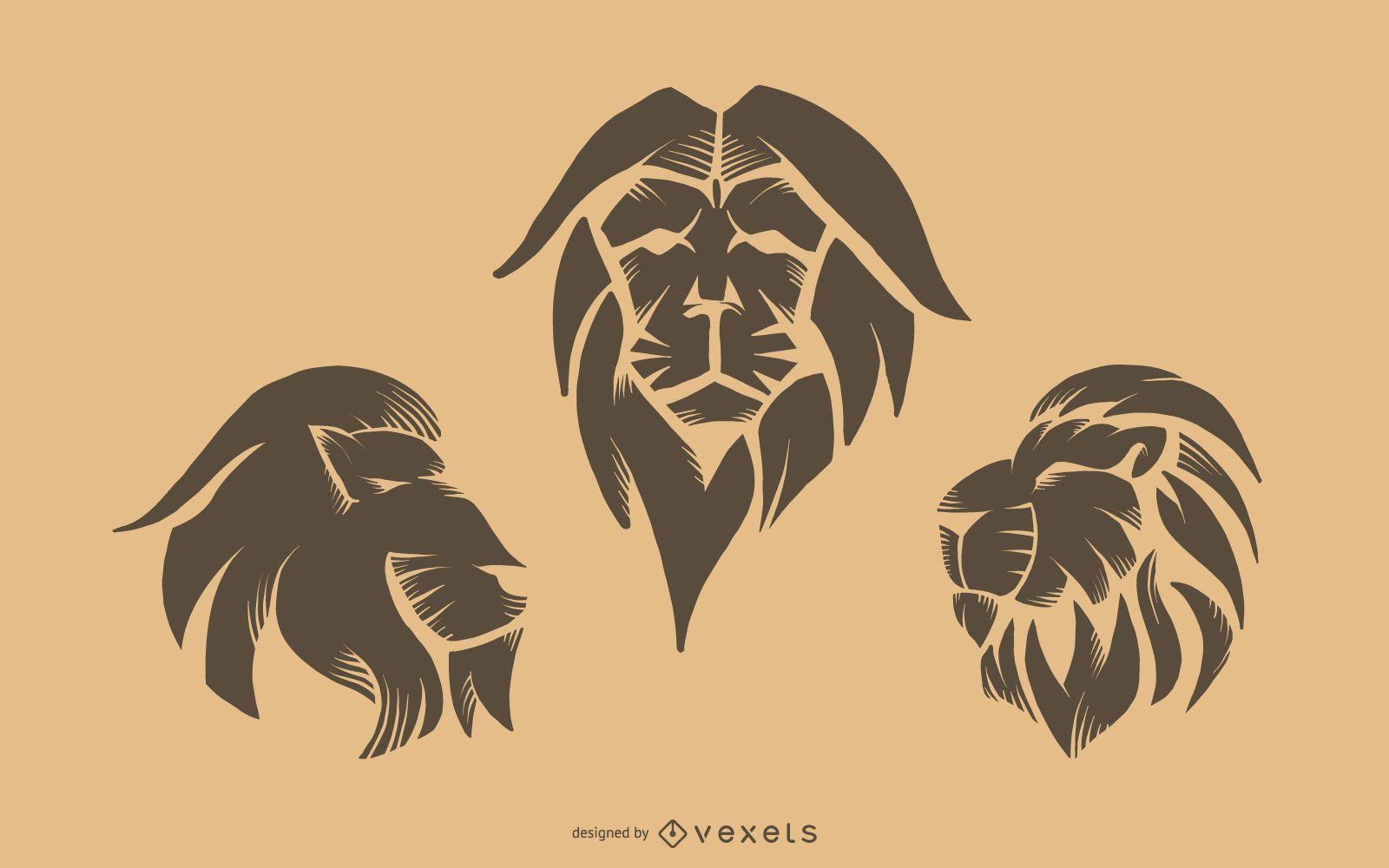 Conjunto de tatuaje de león