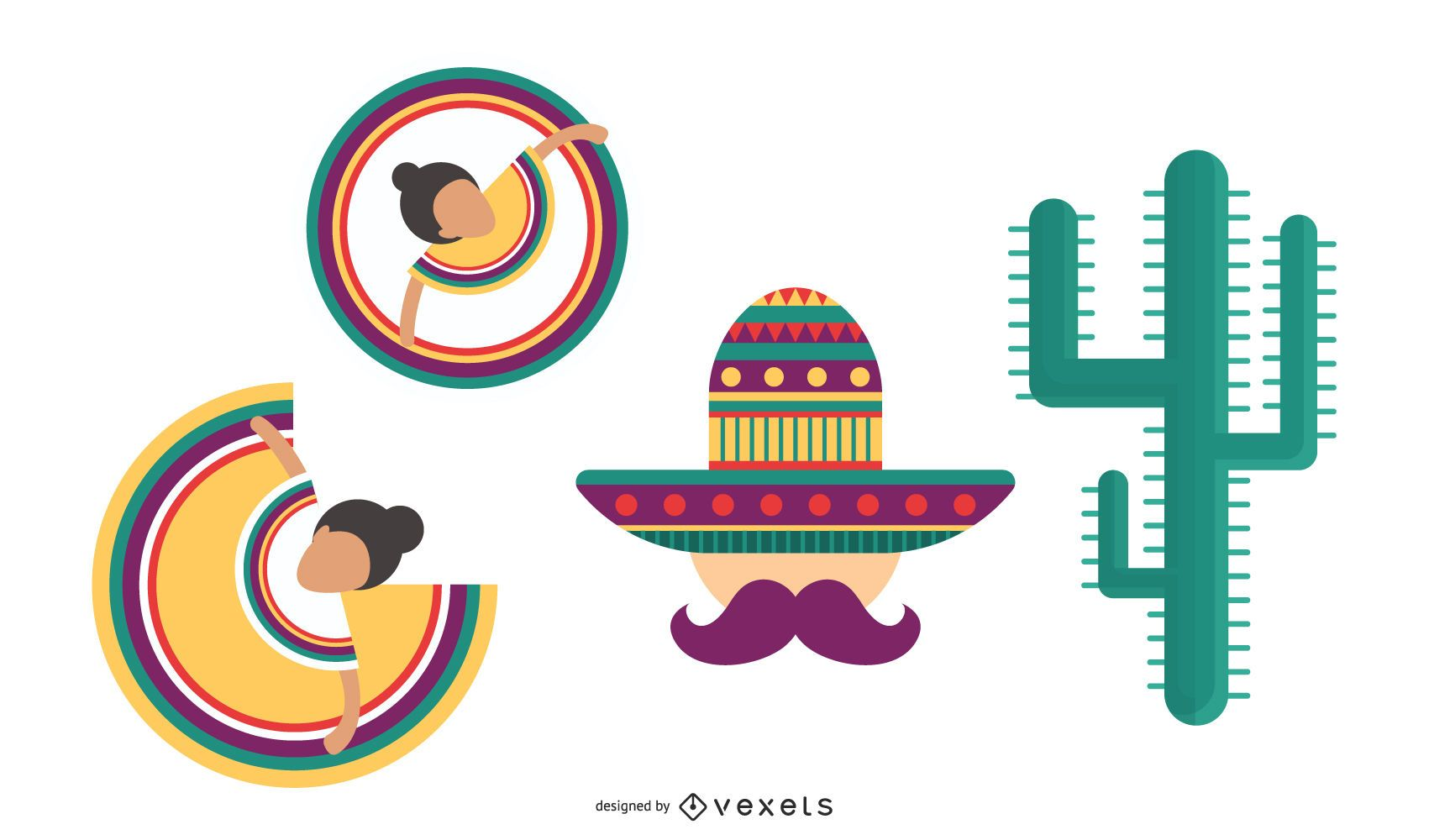 Mexican culture icons set