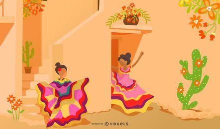 Ilustración de dibujos animados de la cultura mexicana