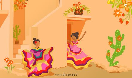 Mexican Culture Cartoon Illustration