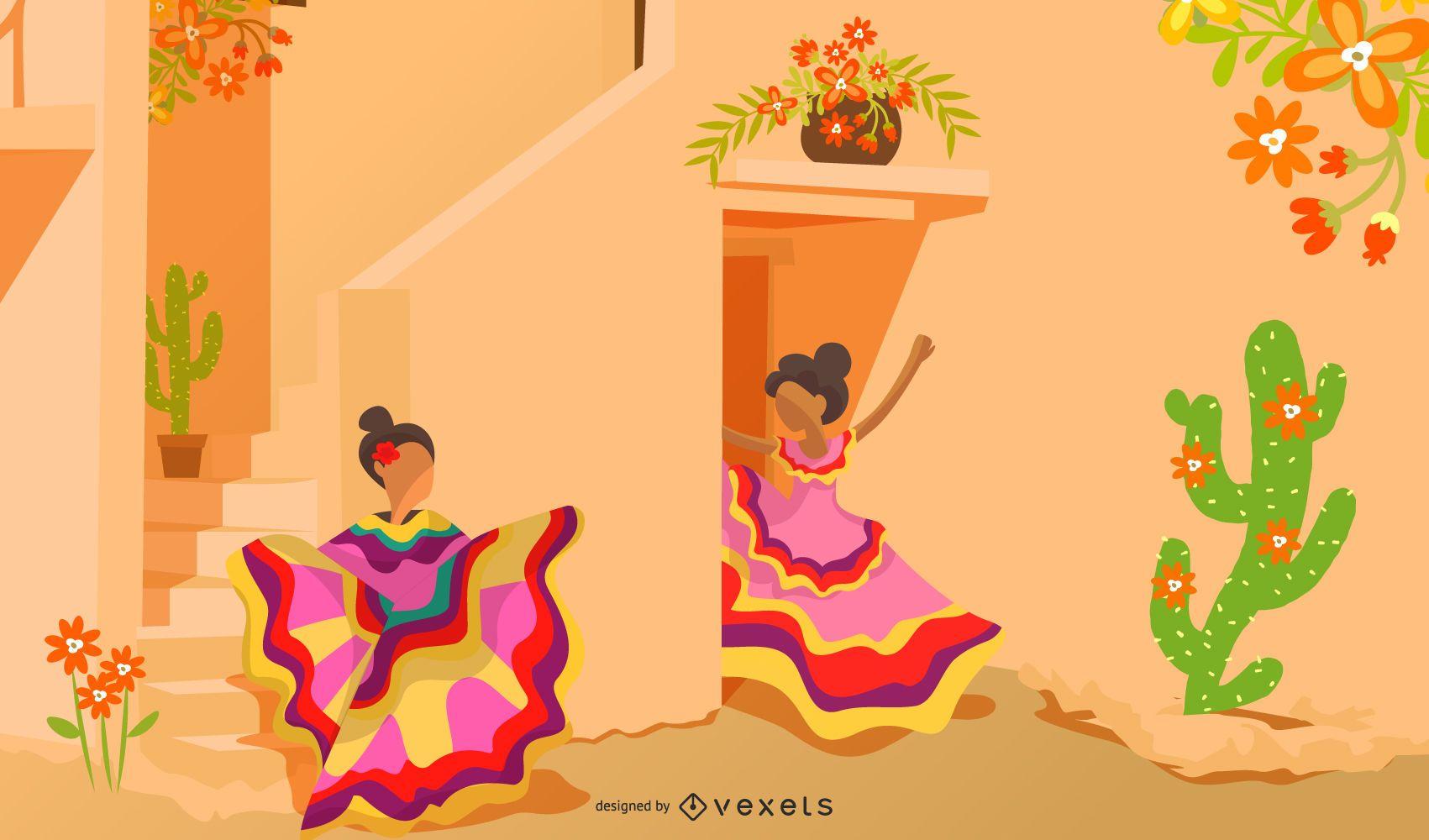 Ilustración de dibujos animados de cultura mexicana