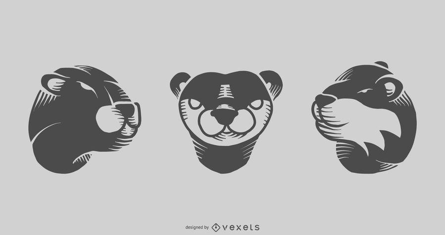 Otter Tattoo Design Set
