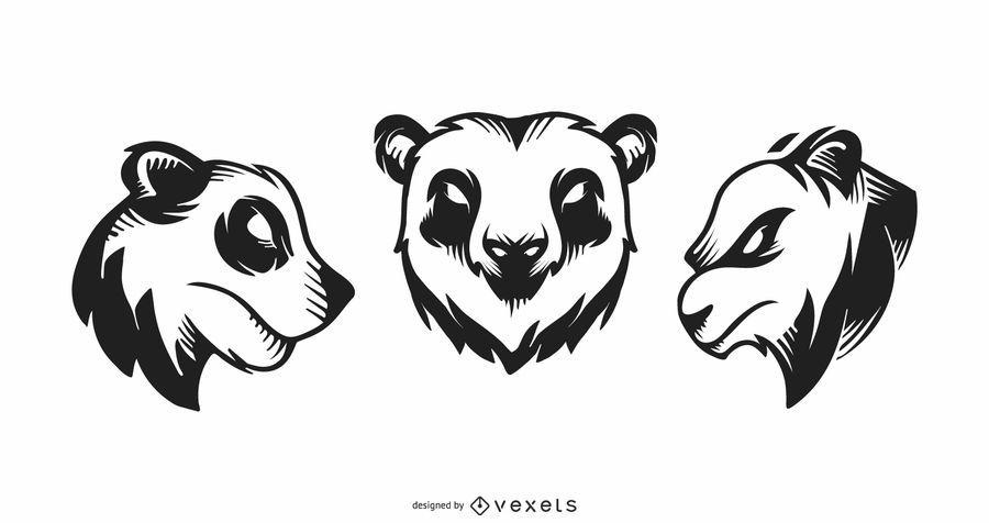 Conjunto de tatuaje de panda