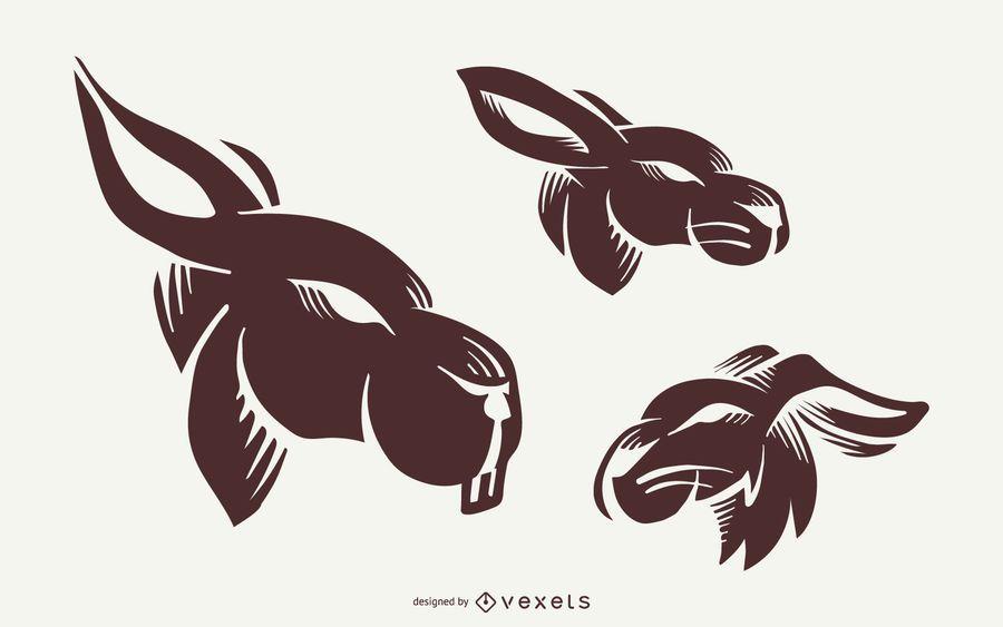Conjunto de tatuagem de coelho