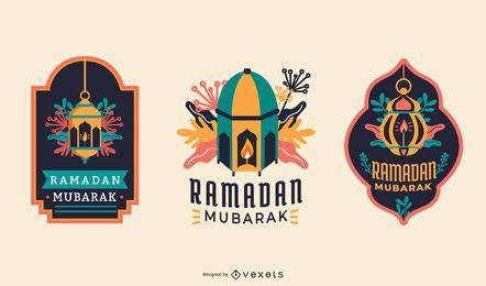 Ramadán Mubarak etiquetas con estilo