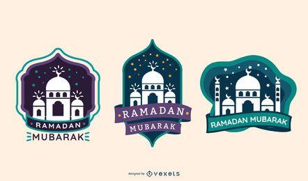 Etiqueta de silueta de Ramadán Mubarak