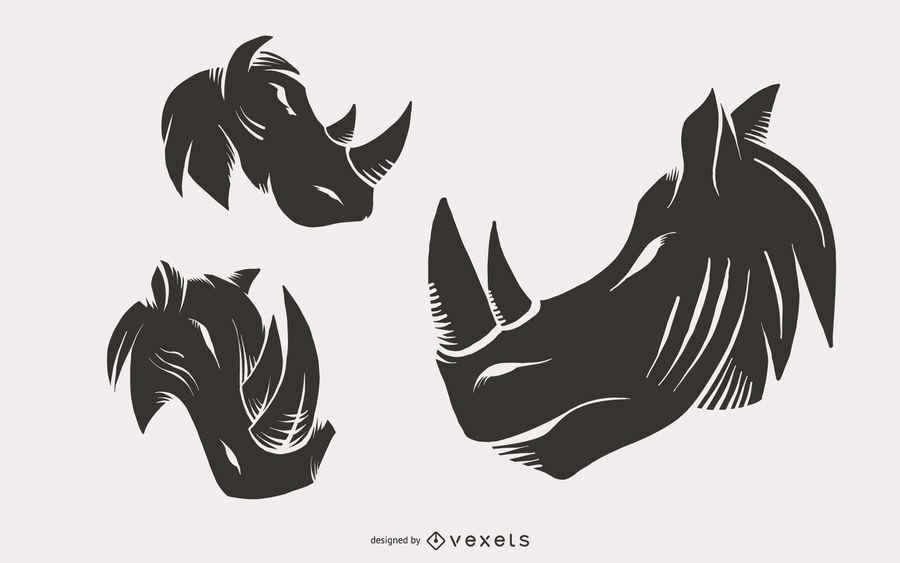 Rhino Head Illustrations