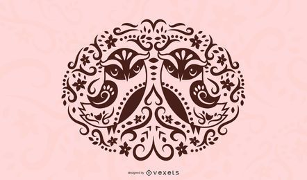 Diseño de silueta de pájaro de arte popular