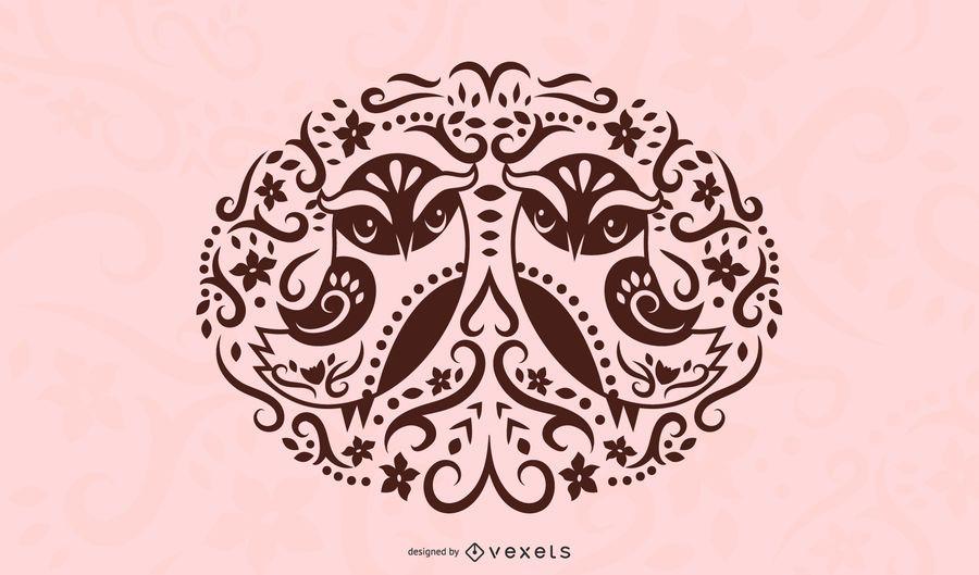 Diseño de la silueta del pájaro del arte popular