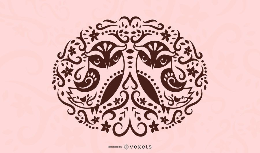 Folk Art Bird Silhouette Design